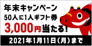 年末キャンペーン 50人に1人3,000円が当たる!